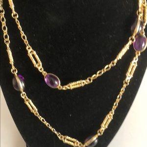 Necklace Vintage Long Gold Toned Purple Stones